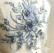 "3 Dimensional Embroidered Lace Applique Gunmetal Floral 15"" BL130"