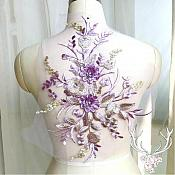 "3 Dimensional Embroidered Lace Applique Lavender Gold Floral 15"" BL130"