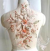"3 Dimensional Embroidered Lace Applique Peach Floral 15"" BL130"