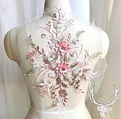"3 Dimensional Embroidered Lace Applique Pink Floral 15"" BL130"