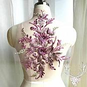 "3 Dimensional Embroidered Lace Applique Mauve Gold Floral 15"" BL130"