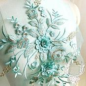 "3 Dimensional Embroidered Lace Applique Teal Gold Floral 15"" BL130"