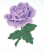 "Embroidered Applique Lavender Rose Craft Patch 3.5"" BL132"