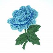 "Embroidered Applique Blue Rose Craft Patch 3.5"" BL132"