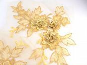 "3D Embroidered Lace Appliques Gold Floral Venice Lace Mirror Pair 7.5""  BL133X"