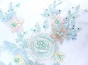 "Three Dimensional Applique Embroidered Lace Multi Pastels Pink and Green Sewing Dance Motif Floral Design 15"" BL135"