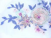 """Three Dimensional Applique Embroidered Lace Blue Green Sewing Dance Motif Floral Design 15"""" BL135"""