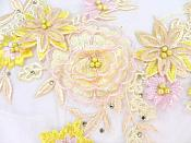 """Three Dimensional Applique Embroidered Lace Multi Ivory and Yellow Sewing Dance Motif Floral Design 15"""" BL135"""