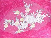 "Three Dimensional Applique Embroidered Lace White Multi Sewing Dance Motif Floral Design 15"" BL135"