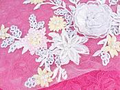 """Three Dimensional Applique Embroidered Lace White Multi Sewing Dance Motif Floral Design 15"""" BL135"""