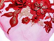 """Three Dimensional Applique Embroidered Lace Burgundy Gold Sewing Dance Motif Floral Design 13.75"""" BL136"""