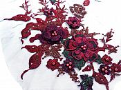 Three Dimensional Applique Embroidered Lace Burgundy Hunter Green Brown Sewing Dance Motif Floral Design 13 inches BL136