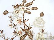 """Three Dimensional Applique Embroidered Lace Coffee Sewing Dance Motif Floral Design 13.75"""" BL136"""