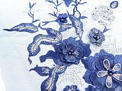 Three Dimensional Applique Embroidered Lace Shiny Navy Blue Gold Sewing Dance Motif Floral Design 13 inches BL136
