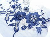 """Three Dimensional Applique Embroidered Lace Shiny Navy Blue Gold Sewing Dance Motif Floral Design 13.75"""" BL136"""