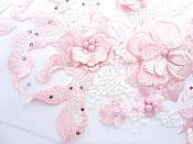 """Three Dimensional Applique Embroidered Lace Shiny Pink White Sewing Dance Motif Floral Design 13.75"""" BL136"""