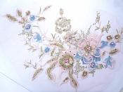 """Three Dimensional Applique Embroidered Lace Shiny Pink Blue Gold Sewing Dance Motif Floral Design 13.75"""" BL136"""