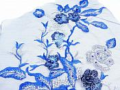 """Three Dimensional Applique Embroidered Lace Shiny Blue Silver Sewing Dance Motif Floral Design 13.75"""" BL136"""