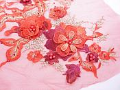 Three Dimensional Applique Embroidered Lace Red Gold Sewing Dance Motif Floral Design 13 inches BL136