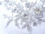 """Three Dimensional Applique Embroidered Lace Silver Sewing Dance Motif Floral Design 13.75"""" BL136"""