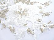 """Three Dimensional Applique Embroidered Lace White Gold Sewing Dance Motif Floral Design 13.75"""" BL136"""
