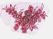 3D Embroidered Lace Applique Burgundy Gold Floral Venice Lace Patch 14.5