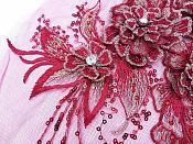 "3D Embroidered Lace Applique Burgundy Gold Floral Venice Lace Patch 14.5"" (BL137)"