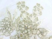 """3D Embroidered Lace Applique Champagne Floral Venice Lace Patch 14.5"""" (BL137)"""
