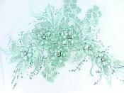3D Embroidered Lace Applique Mint Green Floral Venice Lace Patch 14.5