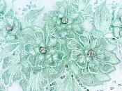 "3D Embroidered Lace Applique Mint Green Floral Venice Lace Patch 14.5"" (BL137)"