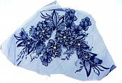 3D Embroidered Lace Applique Navy Blue Floral Venice Lace Patch 14.5