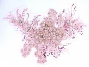 "3D Embroidered Lace Applique Pink Floral Venice Lace Patch 14.5"" (BL137)"