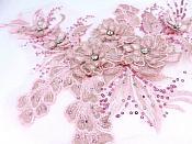 """3D Embroidered Lace Applique Pink Floral Venice Lace Patch 14.5"""" (BL137)"""