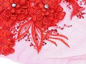 "3D Embroidered Lace Applique Red Floral Venice Lace Patch 14.5"" (BL137)"