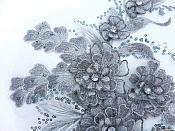 "3D Embroidered Lace Applique Silver Floral Venice Lace Patch 14.5"" (BL137)"