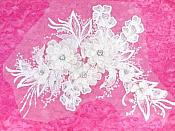"3D Embroidered Lace Applique Antique White Floral Venice Lace Patch 14.5"" (BL137)"