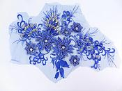 Floral Applique Three Dimensional Embroidered Lace Royal Blue Sewing Patch 15 inches BL139