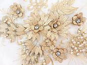 Floral Applique Three Dimensional Embroidered Lace Champagne Gold Sewing Patch 15 inches BL139