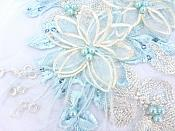 Floral Applique Three Dimensional Embroidered Lace Light Blue Ivory Sewing Patch 9 inches BL141