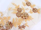Floral Applique Three Dimensional Embroidered Lace Coffee and Peaches White Sewing Patch 14.5 inches BL142