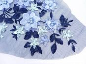 Floral Applique Three Dimensional Embroidered Lace Navy Baby Blue Sewing Patch 14.5 inches BL142