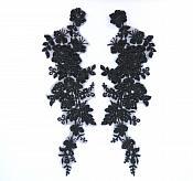 """Sequin Lace Appliques Black Floral Venice Lace Mirror Pair Clothing Patch 14"""" BL146X"""