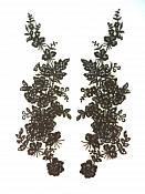 "Sequin Lace Appliques Chocolate Brown Floral Venice Lace Mirror Pair Clothing Patch 14"" BL146X"
