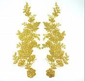 "Sequin Lace Appliques Dark Gold Floral Venice Lace Mirror Pair Clothing Patch 14"" BL146X"