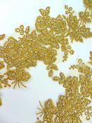 "Sequin Lace Appliques Dark Gold Floral Venice Lace Mirror Pair Clothing Patch 14"" BL146X"