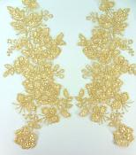 """Sequin Lace Appliques Lt. Gold Floral Venice Lace Mirror Pair Clothing Patch 14"""" BL146X"""