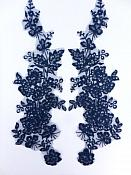 "Sequin Lace Appliques Navy Blue Floral Venice Lace Mirror Pair Clothing Patch 14"" BL146X"