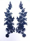 """Sequin Lace Appliques Navy Blue Floral Venice Lace Mirror Pair Clothing Patch 14"""" BL146X"""