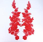 "Sequin Lace Appliques Red Floral Venice Lace Mirror Pair Clothing Patch 14"" BL146X"