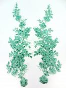 "Sequin Lace Appliques Teal Floral Venice Lace Mirror Pair Clothing Patch 14"" BL146X"